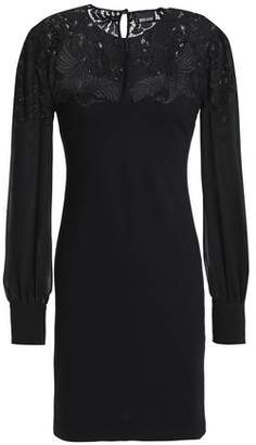 Just Cavalli Lace-Paneled Jersey Mini Dress