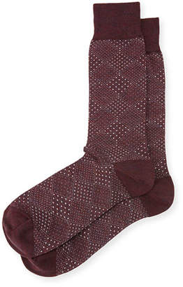 Neiman Marcus Pin-Dot Diamond Wool Socks