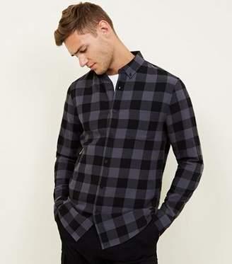 New Look Dark Grey Buffalo Check Button Down Shirt