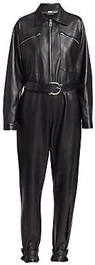 Dodo Bar Or Women's Barbara Long-Sleeve Leather Jumpsuit