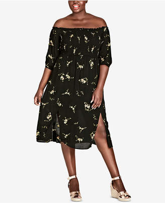 City Chic Trendy Plus Size Aerial Off-The-Shoulder Midi Dress