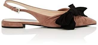 Prada Women's Bow-Embellished Suede Slide Sandals