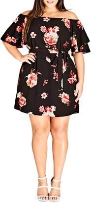 City Chic Flutter Sleeve Print Off the Shoulder Dress