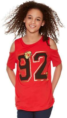 M&Co Teens' varsity print cold shoulder top