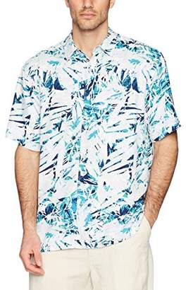 Cubavera Men's Short Sleeve 100% Rayon Point-Collar Abstract-Print Shirt