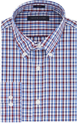 Tommy Hilfiger Men Slim-Fit Blue Check Dress Shirt