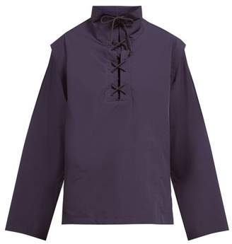 Lemaire Lace Up Cotton Poplin Shirt - Womens - Navy