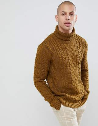 Asos DESIGN heavyweight cable knit roll neck sweater in khaki