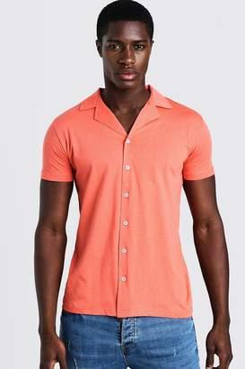 boohoo Short Sleeve Jersey Shirt With Revere Collar