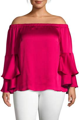 Vince Camuto Plus Off-The-Shoulder Ruffle Top