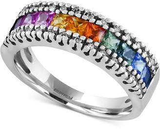 Effy Watercolors by Multi-Sapphire (1-1/3 ct. t.w.) and Diamond (1/8 ct. t.w.) Band in 14k White Gold