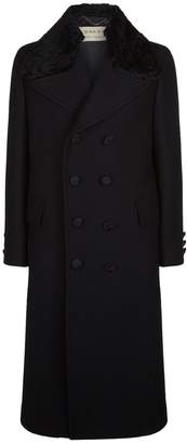 Burberry Shearling Collar Chesterfield Coat