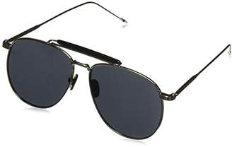 Zerouv Oversize Metal Double Nose Bridge Ultra Slim Temple Flat Lens Aviator Sunglasses
