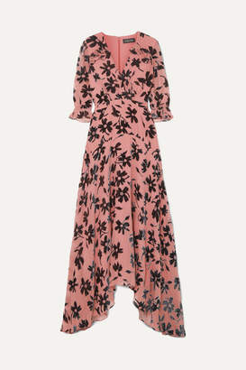 Saloni Edith Ruffled Flocked Chiffon Maxi Dress - Pink