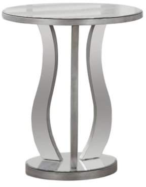 """Monarch Specialties Monarch End Table 20""""Dia / Brushed Silver / Mirror"""