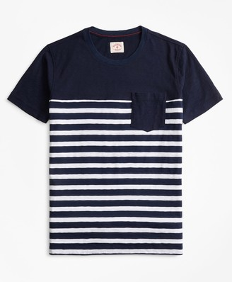 Brooks Brothers Striped Slub Cotton Jersey Pocket T-Shirt