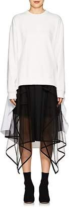 J KOO Women's Embroidered Cotton High-Low Sweatshirt