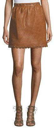 REDValentino Studded Scalloped Lambskin Leather Skirt $1,195 thestylecure.com