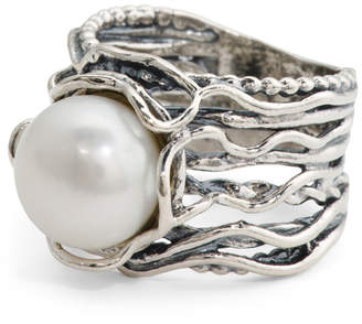 Made In Israel Sterling Silver Freshwater Pearl Ring