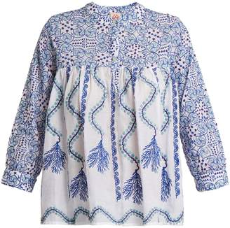 LE SIRENUSE, POSITANO Kantha-shell-print V-neck cotton shirt