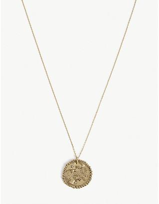 Maje Leo zodiac brass coin necklace