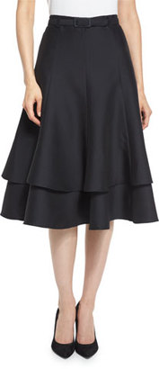 Co Belted Layered A-Line Skirt, Black $1,150 thestylecure.com