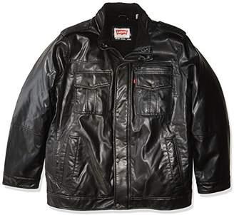 Levi's Men's Big Vintage Deer Faux Leather Sherpa Military Jacket