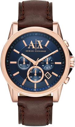 Armani Exchange Men's Chronograph Dark Brown Leather Strap Watch 45mm AX2508
