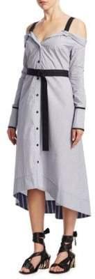 Proenza Schouler Stripe Cold-Shoulder Cotton Shirtdress