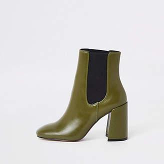 River Island Green block heel Chelsea boots