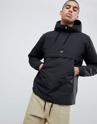 Pull&Bear Half Zip Padded Jacket In Black With Hood