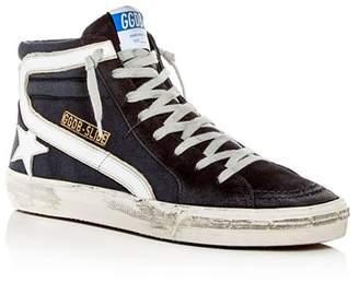 Golden Goose Men's Slide Denim & Suede High-Top Sneakers