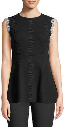 Lela Rose Wave-Embroidered Peplum Top