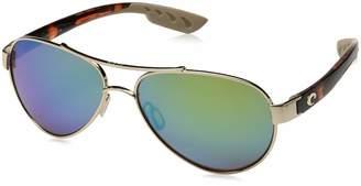 Costa del Mar Women's Loreto Polarized Iridium Aviator Sunglasses, Rose Gold Frame with Tortoise