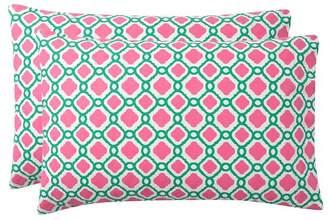 Pottery Barn Teen Trellis Splash Pillowcases, Set of 2, Bright Pink/Green