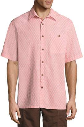 Island Shores Short Sleeve Geometric Button-Front Shirt