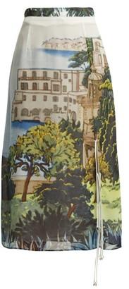 Altuzarra Landscape Print Silk Chiffon Midi Skirt - Womens - Blue Multi