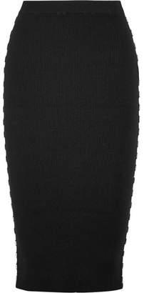 Mugler - Embellished Ribbed-knit Skirt - Black $550 thestylecure.com