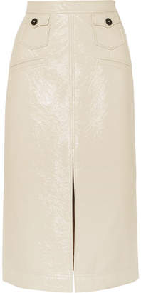 ALEXACHUNG Faux Patent-leather Pencil Skirt - Cream