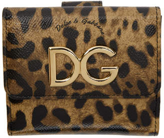Dolce & Gabbana Black and Brown Leopard French Wallet