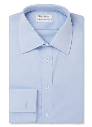 Turnbull & Asser Kingsman + Blue Double-Cuff Cotton-Twill Shirt