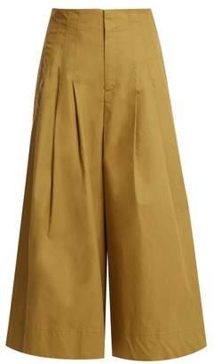 Sea Windbreaker Cropped Wide Leg Cotton Blend Trousers - Womens - Beige