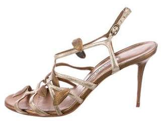 Manolo Blahnik Leather Leaf-Accented Sandals