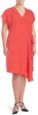 London Times Plus Asymmetrical Faux Wrap Dress