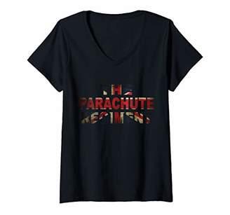 Womens The Parachute Regiment T shirt British Army Union Jack V-Neck T-Shirt