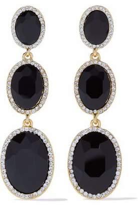 Kenneth Jay Lane Kenneth Jay Lane Woman Silver-tone Stone Earrings Black Size cak5k