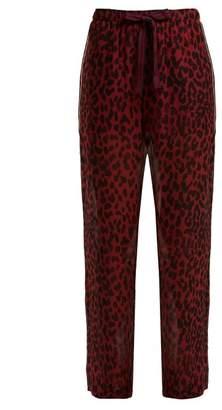 On The Island - Antiparos Leopard Print Silk Trousers - Womens - Burgundy