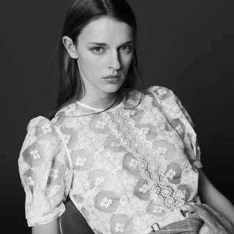 Sandro Subtly sheer top with lace