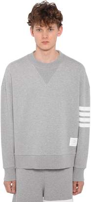 Thom Browne Oversized Cotton Sweatshirt W/ Stripes