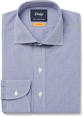 Drakes Drake's Easyday Cutaway-Collar Gingham Cotton-Poplin Shirt